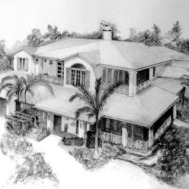 Ron Berry Artwork Draw My House I, 2007 Pencil Drawing, Architecture