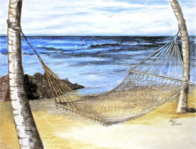 Ron Berry  'Hammock Between The Palms', created in 2013, Original Drawing Pencil.