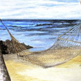 Ron Berry Artwork Hammock Between the Palms, 2013 Pencil Drawing, Beach