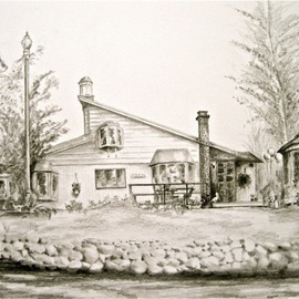 Ron Berry Artwork On the Lake, 2011 Pencil Drawing, Architecture