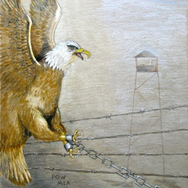 Ron Berry Artwork POW Chained Eagle, 2014 Pencil Drawing, Inspirational