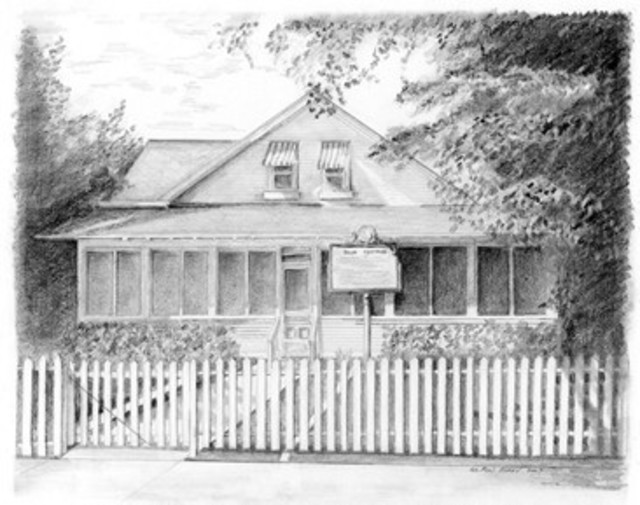 Ron Berry  'Palm Cottage', created in 2007, Original Drawing Pencil.