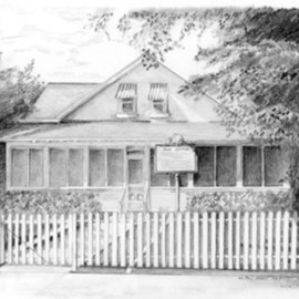 Ron Berry Artwork Palm Cottage, 2007 Pencil Drawing, Architecture
