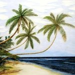 Palms Over White Beach By Ron Berry