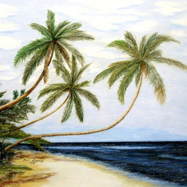 Ron Berry Artwork Palms Over White Beach, 2014 Pencil Drawing, Beach