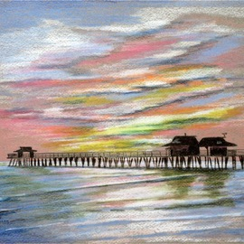 Ron Berry Artwork Pastel Sky Over the Pier 3, 2012 Pencil Drawing, Beach