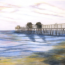 Ron Berry Artwork Peaceful Pier, 2015 Pencil Drawing, Beach