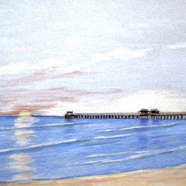 Ron Berry Artwork Peaceful Sunset at Naples Pier, 2014 Pencil Drawing, Beach