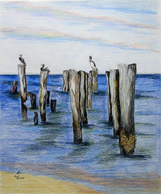 Ron Berry Artwork Pelicans on Pilings, 2015 Pelicans on Pilings, Beach