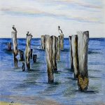 Pelicans on Pilings By Ron Berry