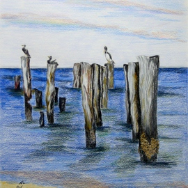 Ron Berry Artwork Pelicans on Pilings, 2015 Pencil Drawing, Beach