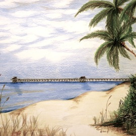 Ron Berry Artwork Pier From 16th Ave S, 2014 Pencil Drawing, Beach