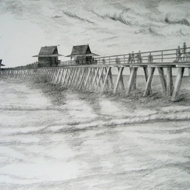 Ron Berry Artwork Pier Rendering, 2010 Pencil Drawing, Beach