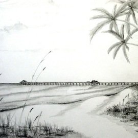 Ron Berry Artwork Pier Rendering from 16th Ave, 2013 Pencil Drawing, Beach