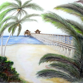 Ron Berry Artwork Pier Through the Trees, 2012 Pencil Drawing, Beach