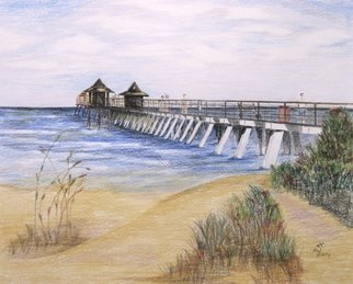 Ron Berry Artwork Pier and Bushes, 2015 Pencil Drawing, Beach