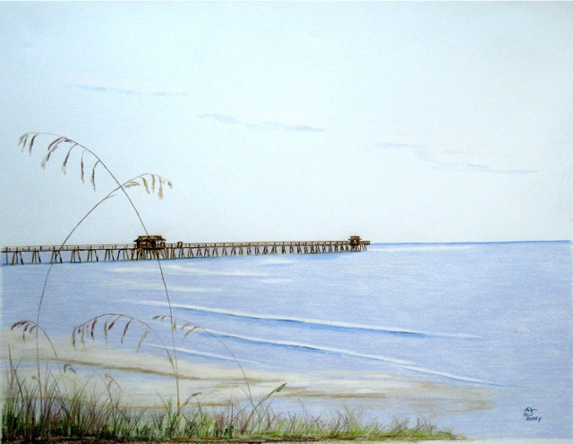 Ron Berry  'Pier And Seagrass 4b', created in 2013, Original Drawing Pencil.