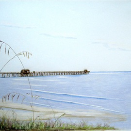 Ron Berry Artwork Pier and Seagrass 4b, 2013 Pencil Drawing, Beach