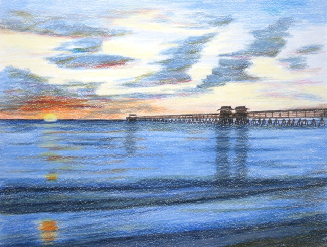 Ron Berry  'Pier At Sunset', created in 2014, Original Drawing Pencil.