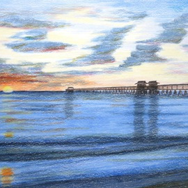 Ron Berry Artwork Pier at Sunset, 2014 Pencil Drawing, Beach