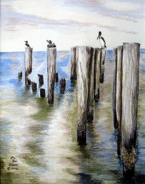Ron Berry  'Pilings', created in 2007, Original Drawing Pencil.