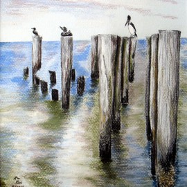 Ron Berry Artwork Pilings, 2007 Pencil Drawing, Beach