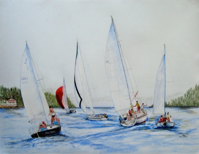 Ron Berry  'Sailboats Outbound', created in 2011, Original Drawing Pencil.