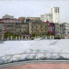 Ron Berry Artwork Savannah Waterfront II, 2004 Pencil Drawing, Architecture