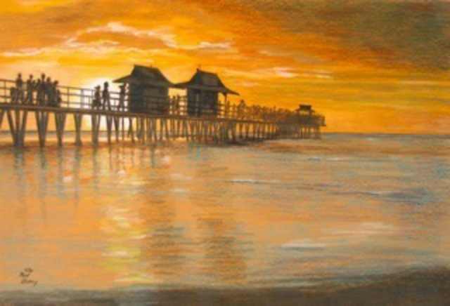 Ron Berry  'Sunset At The Pier', created in 2010, Original Drawing Pencil.