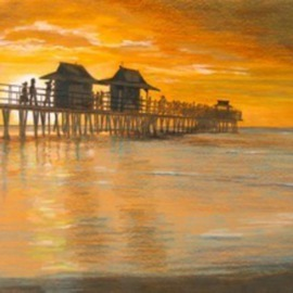 Ron Berry Artwork Sunset at the Pier, 2010 Pencil Drawing, Beach