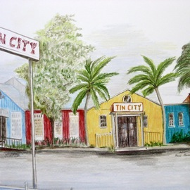 Ron Berry Artwork Tin City  Panorama, 2011 Pencil Drawing, Beach