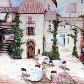 Ron Berry Artwork Village Cafe II, 2008 Pencil Drawing, Architecture