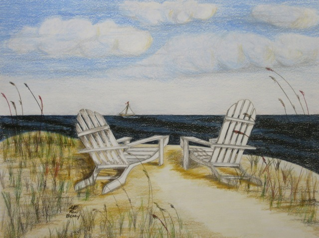 Ron Berry  'White Adirondack Chairs Alone', created in 2013, Original Drawing Pencil.
