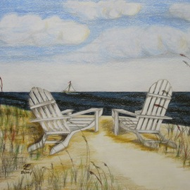 Ron Berry Artwork White Adirondack Chairs Alone, 2013 Pencil Drawing, Beach