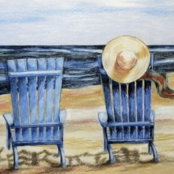 , Blue Chairs And A Hat, Beach, $368