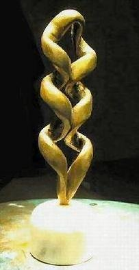 Bronze Sculpture by Gabor Bertalan titled: Double spiral, created in 2004
