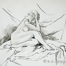 Barbara Shepard: 'Woman Seated', 1987 Ink Painting, Nudes. Artist Description:     Ink brush drawing and wash of model.     ...