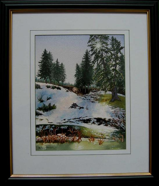 Bessie Papazafiriou  'First Snow', created in 1999, Original Mixed Media.