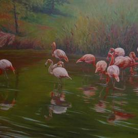 Flamingos  By Bessie Papazafiriou