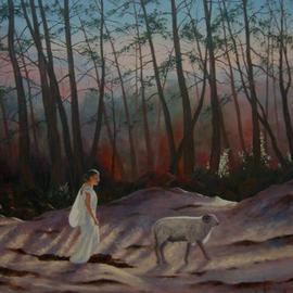 Bessie Papazafiriou: 'Selene and the White Ram', 2005 Oil Painting, Mythology. Artist Description: Selene, the moon- goddess, was loved by Pan, a pastoral god.  He transformed himself into a white ram and drew her into the woods....