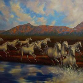 Bessie Papazafiriou: 'The 12 Mares of Boreas', 2004 Oil Painting, Mythology. Artist Description:      According to Greek mythology, Boreas, the God of the North Wind, assumed the form of a stallion and mated with the mares of Erichthonius, the king of Athens.  This painting depicts the 12 swift young mares which resulted from this union.Limited Edition - Signed and numbered...