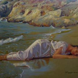 Bessie Papazafiriou: 'The Slumber of Ariadne', 2005 Oil Painting, Mythology. Artist Description: This painting is part of a series dealing with Theseus' abandonment of Ariadne on the island of Naxos.  Here Ariadne has fallen into a deep and tranquil sleep, still unaware of the fate that awaits her.THIS PAINTING WAS STOLEN FROM MY STUDIO IN CANADA IN 2010.  ...