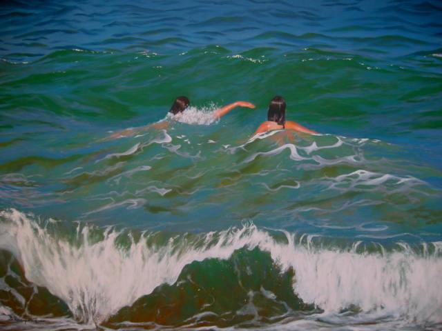 Bessie Papazafiriou  'Two Swimmers II', created in 2005, Original Mixed Media.