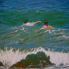 Two Swimmers II  By Bessie Papazafiriou