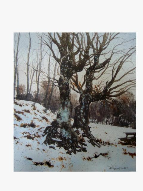 Bessie Papazafiriou  'Two Trees In Metsovo', created in 2003, Original Mixed Media.
