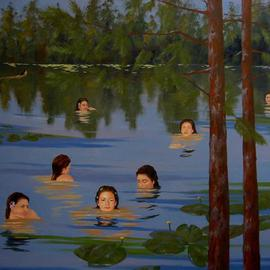 Bessie Papazafiriou: 'Water Nymphs', 2002 Oil Painting, Mythology. Artist Description:      According to Greek mythology, water nymphs are divinities which have the gift of prophecy and could deliver oracles.  Here, they are portrayed in their lush and tranquil environment....