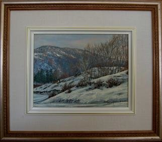 Bessie Papazafiriou: 'Winter in Metsovo', 2000 Oil Painting, Landscape.      Winter in Metsovo depicts a wonderful place I discovered in Metsovo, Greece.  I love the way the vegetation pokes its way through the snow to add contrast to the painting.Comments:  Framed...