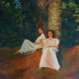 Bessie Papazafiriou: 'Wood Nymphs', 2006 Oil Painting, Mythology. Artist Description: The Greeks believed that various divinities protected nature.  These divinities were known as nymphs.  This painting depicts young women of the forest known as wood nymphs who protected trees.  It was believed that anyone who caught a glimpse of a nymph was blessed with good fortune and those ...