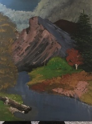 Michelle Irvine: 'mountain', 2017 Acrylic Painting, Landscape. Artist Description: Mountains and a river. Fall colors. ...