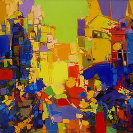 Oleg Bezyuk: 'Amber Blues', 2009 Oil Painting, Cityscape. Artist Description:  oil, canvas, semi- abstract, abstract, cityscape ...
